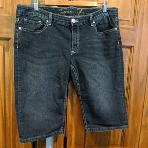 7 for all Mankind dark denim Bermuda shorts